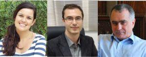 Fotos dos autores principais do artigo. Começando pela esquerda do leitor: a doutora Virgínia Souza, o professor Jackson Scholten e o professor Jairton Dupont.