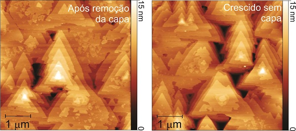 Imagens de microscopia de força atômica (AFM) da superfície de filmes de telureto de bismuto de 25 nm de espessura. À esquerda, um filme que foi protegido e teve a camada protetora removida pelo método desenvolvido pelos pesquisadores do INPE. À direita, um filme que não foi revestido. A comparação das imagens mostra que a superfície do filme foi completamente preservada depois da remoção da camada protetora. (Adaptação de imagem publicada no artigo da APL Mat. [http://aip.scitation.org/doi/full/10.1063/1.4964610] sob licença CC BY 4.0 [https://creativecommons.org/licenses/by/4.0/])