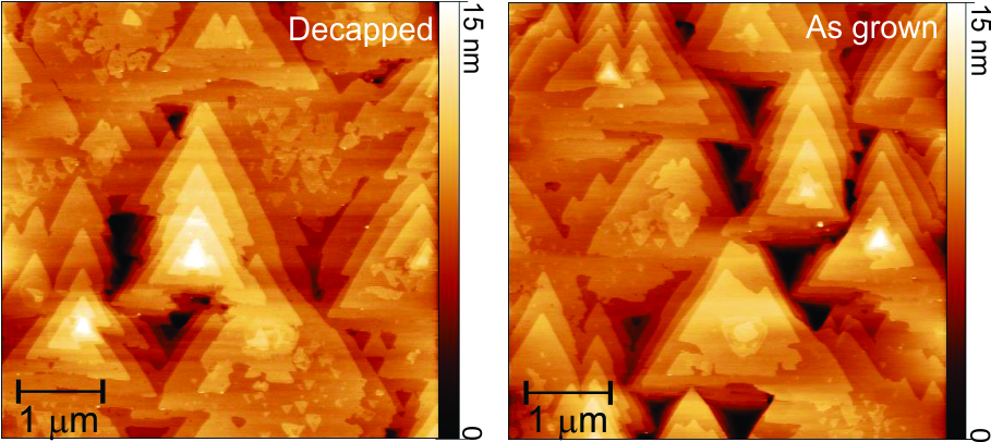 Atomic force microscopy images (AFM) of the surface of bismuth telluride films, 25 nm thickness. On the left, a film that was protected and had the protective layer removed by the method developed by INPE researchers. On the right, a film that was not coated. Comparison of the images shows that the surface of the film was completely preserved after removal of the protective layer.