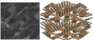 SEM image of the 3D hybrid material Fe3O4/rGO (left), and a representative scheme of the material´s morphology (right).