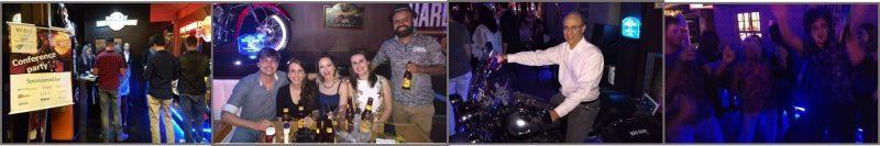 A festa do evento contou neste ano com patrocínio de periódicos científicos e foi realizada num bar temático voltado à paixão por motocicletas.