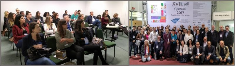 Apresentações orais e palestras convidadas dos simpósios contaram com muito boa assistência (esquerda). Coordenadores de simpósio, provenientes das cinco regiões brasileiras e de vários outros países, como Argentina, Canadá, Espanha, Estados Unidos, Portugal e Reino Unido.