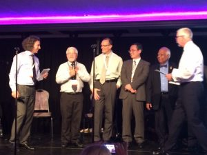 "Award ceremony of the Honorary Fellow of the European Ceramic Society (ECerS), at the closing dinner of the ""15th Conference and Exhibition of the ECerS"" in Budapest. Pandolfelli is third from left."