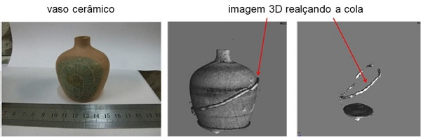 Neutron tomography: inspection of a restoration made in a ceramic vessel to check the degree of perfection of the work.
