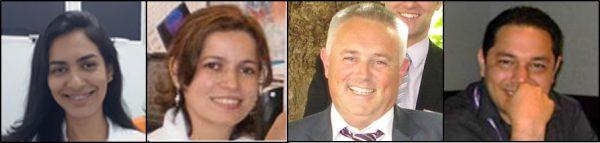 Autores principais do artigo. A partir da esquerda, Geovânia Cordeiro de Assis (atualmente doutoranda na UFAL), Mary Alves (docente permanente do PPGQ-UEPB), Julian Eastoe (professor da University of Bristol) e Rodrigo de Oliveira (coordenador do PPGQ-UEPB).